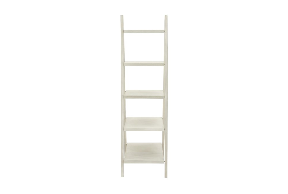5-Tier White Wood Ladder Bookcase
