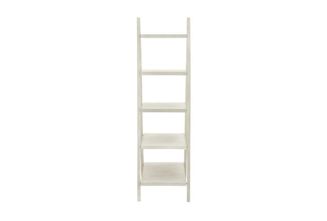 5-Tier White Wood Ladder Bookcase  - 360
