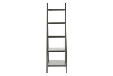 5-Tier Grey Wood Ladder Bookcase