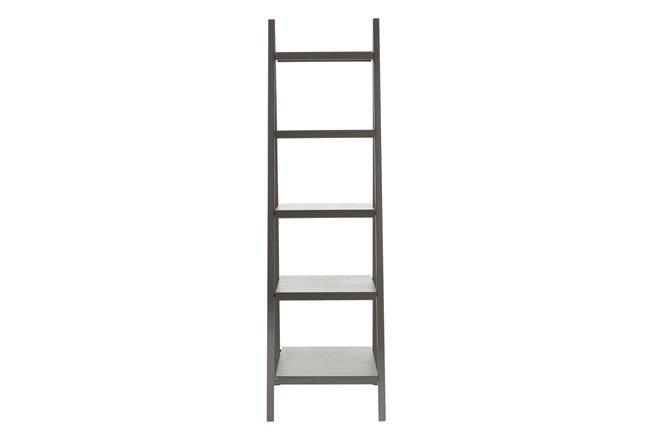 5-Tier Grey Wood Ladder Bookcase  - 360