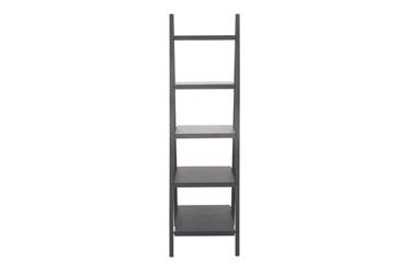 5-Tier Dark Grey Wood Ladder Bookcase