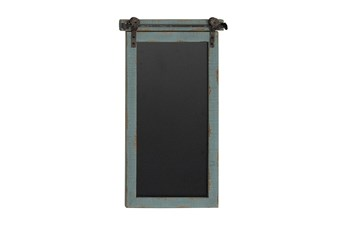 Blue Wood And Metal Hanging Chalkboard