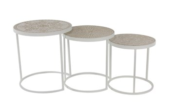 19 Inch Round Cream Metal And Wood Accent Nesting Table