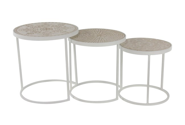 19 Inch Round Cream Metal And Wood Accent Nesting Table - 360