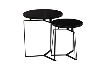 Black Glass And Metal Accent Table-Set Of 2