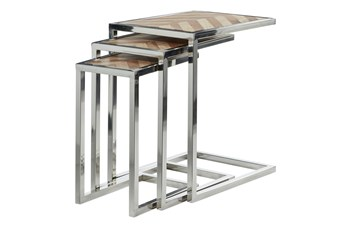 Wood And Steel Nesting C Table-Set Of 3