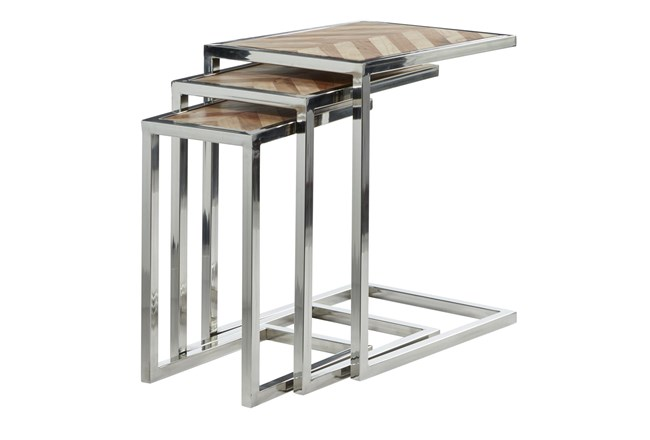 Wood And Steel Nesting C Table-Set Of 3 - 360