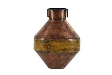 Brown Hammered Metal Urn