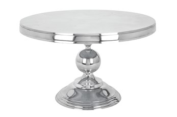 Silver Aluminum Pedestal Coffee Table