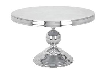 Silver Aluminum Pedestal Coffee Table