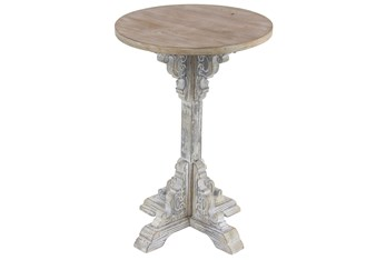 15 Inch Round Wood Two Tone Carved Pedestal Accent Table