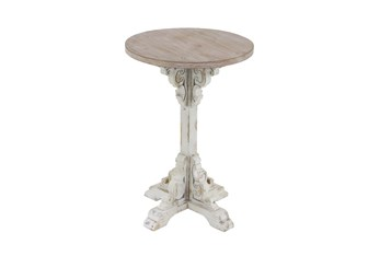 16 Inch Two Tone Carved Pedestal Accent Table