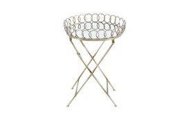 20 Inch Gold Mirror Tray Accent Table