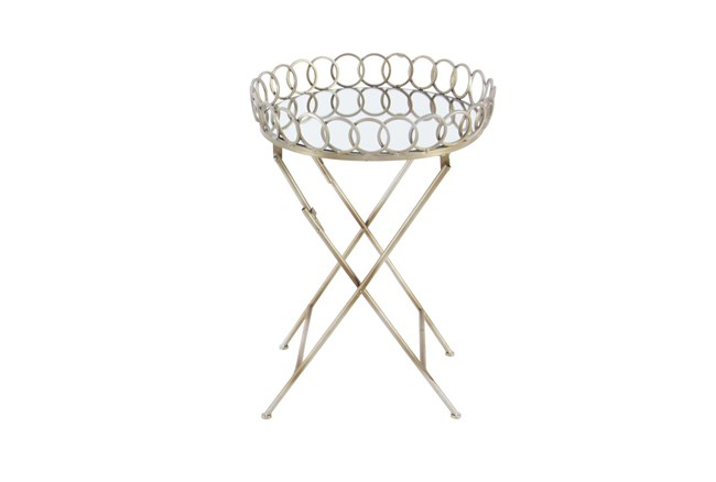 20 Inch Gold Mirror Tray Accent Table - 360