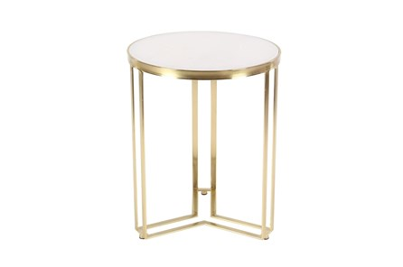 18 Inch Round Gold And Marble Top Accent Table