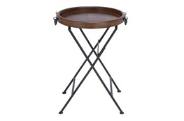 20 Inch Round Brown Wood Tray Accent Table