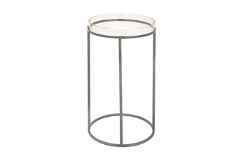 16 Inch Metal And Acrylic Tray Accent Table