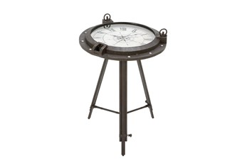 19 Inch Iron And Glass Compass Accent Table