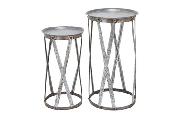 Galvanized Metal Pedestal Accent Table-Set Of 2
