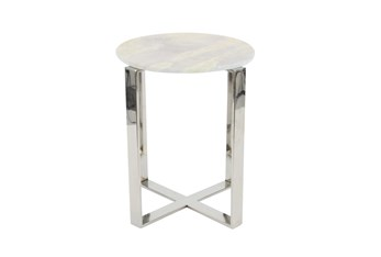 18 Inch Round White Marble And Steel End Table