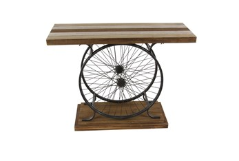 Industrial Wood And Black Metal Wheels Console Table
