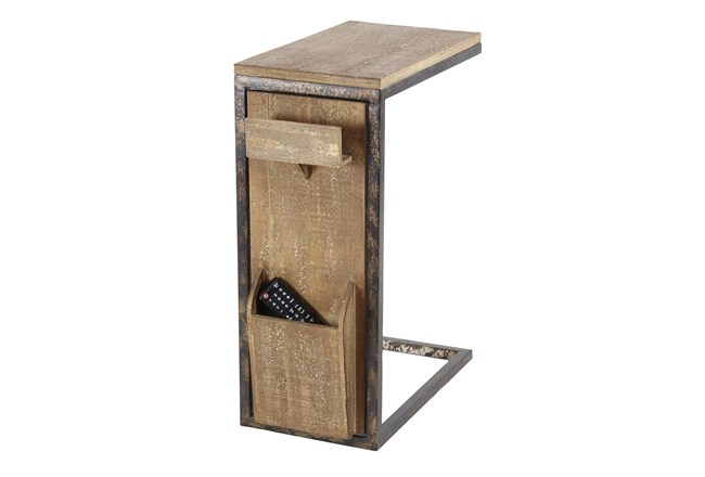 Metal And Wood C-Table With Storage - 360