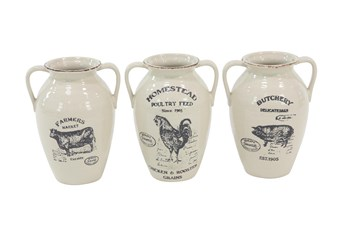 White Farm Animal Ceramic Jug-Set Of 3