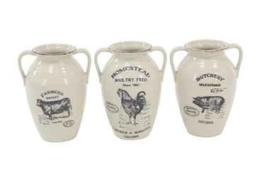 White Farm Animal Ceramic Jug-Set Of 3