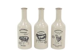 White Farm Animal Ceramic Vase-Set Of 3
