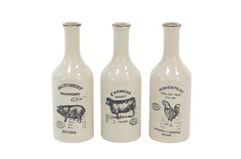 White Farm Animal Ceramic Vase-Set Of 3