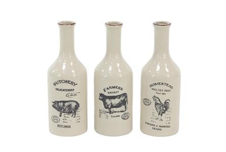 White Farm Animal Ceramic Vase-Set Of 3 - Main