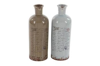 Light Brown And White Script Ceramic Vase-Set Of 2