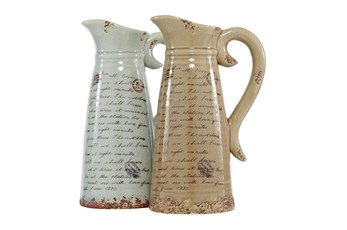 Light Brown And White Script Ceramic Pitcher Vase-Set Of 2