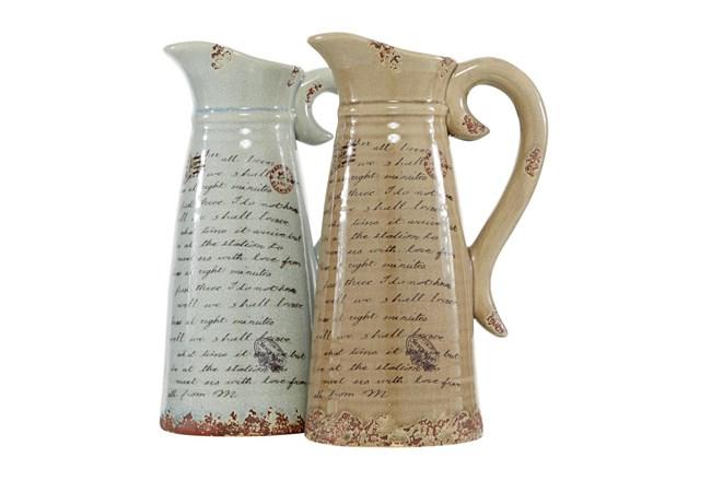 Light Brown And White Script Ceramic Pitcher Vase-Set Of 2 - 360
