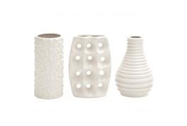 Alabaster White Textured Ceramic Vase-Set Of 3