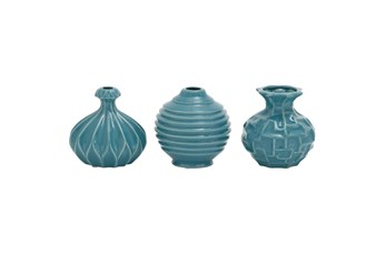 Blue Textured Ceramic Vase-Set Of 3