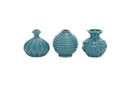 Blue Textured Ceramic Vase-Set Of 3 - Main