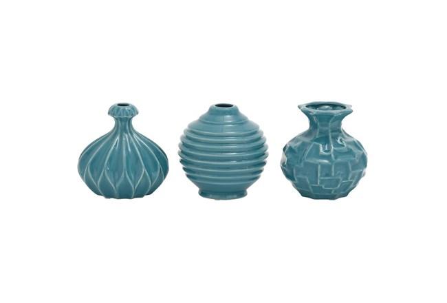 Blue Textured Ceramic Vase-Set Of 3  - 360