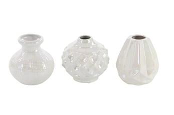 Cream Opalescent Textured Ceramic Vase-Set Of 3