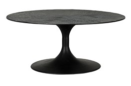 Round Oak And Iron Tulip Coffee Table