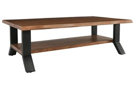 Live Edge Wood And Iron Coffee Table