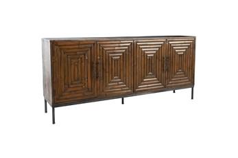 "Bamboo Panel 4 Door 80"" Sideboard"