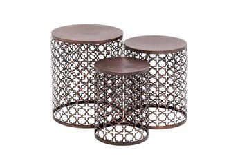 Small Copper Brown Hammered Metal Round End Tables, Set Of 3