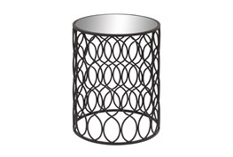 16 Inch Modern Iron And Glass Round Accent Table With Oval Trellis Sides