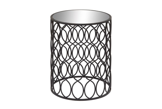 16 Inch Modern Iron And Glass Round Accent Table With Oval Trellis Sides - 360