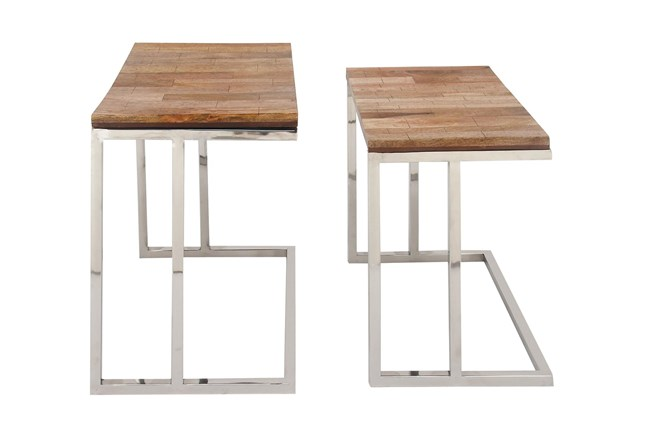 Stainless Steel And Wood L-Shaped Nesting Tables-Set Of 2 - 360