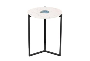 17 Inch Modern Marble Agate Accent Table