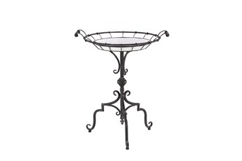 24 Inch Iron Pedestal Accent Table With White Tray