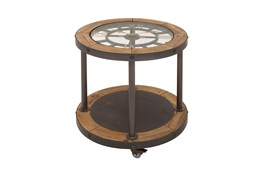 24 Inch Clock Tabletop Wood Accent Table