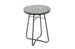 Eclectic Iron And Glass Mosaic Accent Table